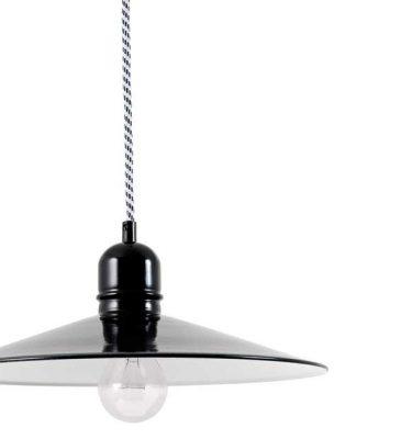 Lille loftlampe i sorte og hvide farver i stål.